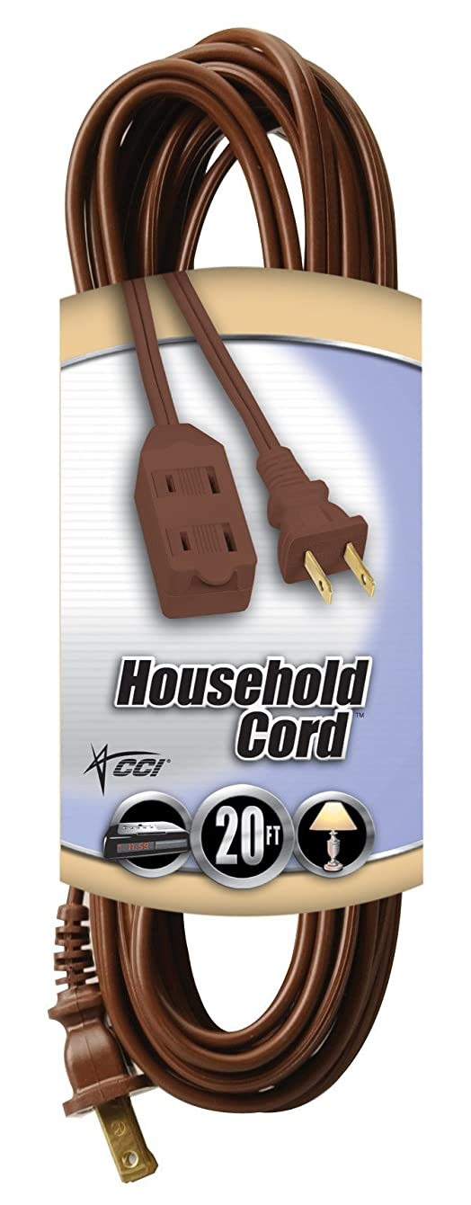Coleman Cable 09405  16/2 SPT-2 3-Outlet Cube Tap Extension Cord with Safety Cover, Brown, 20-Feet