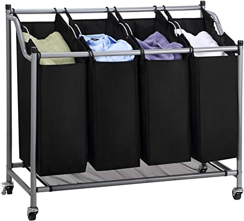 Ollieroo Laundry Sorter Cart 4-Bag Classics Rolling Laundry Hamper, Sturdy Frame with 60KG Weight Capacity, Black