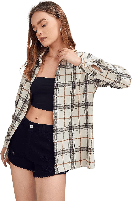 SweatyRocks Women's Casual Long Sleeve Plaid Button Down Collar Blouse Shirt Top