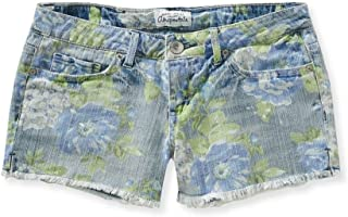 Womens Faded Floral Cut Off Casual Denim Shorts