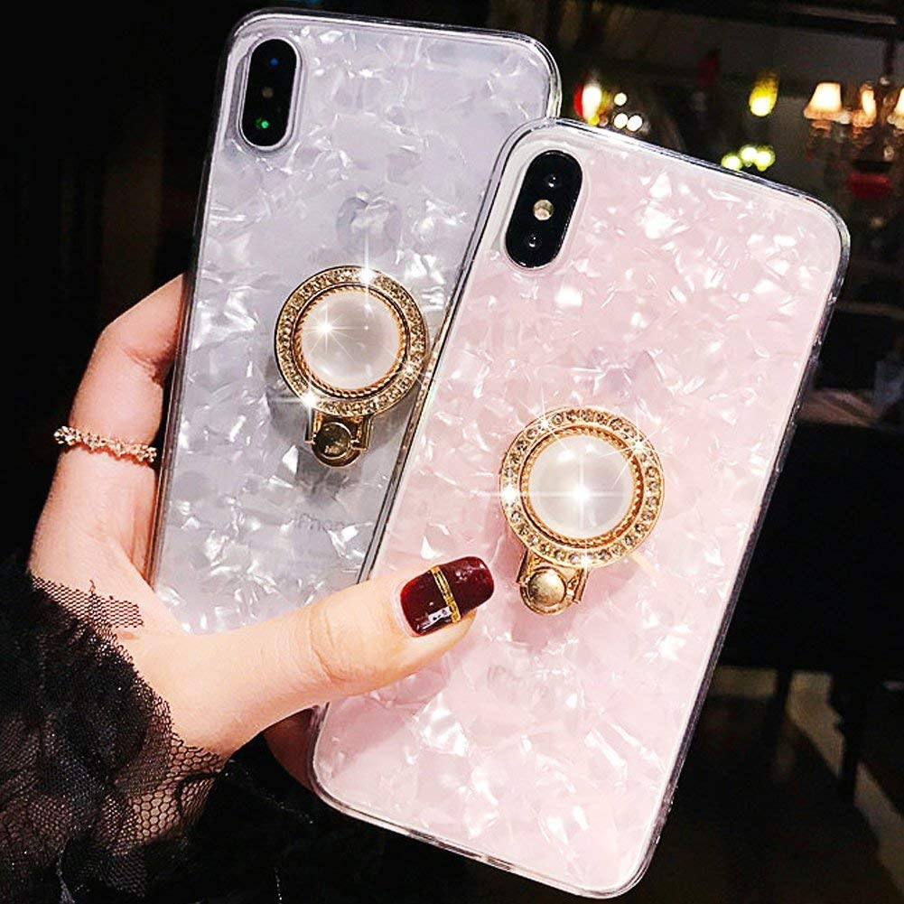 Soft TPU Case for Samsung Galaxy Note 9,Aoucase Luxury Seashell Pattern 360 Ring Stand Holder Ultra-Slim Shockproof Crystal Rubber Case with Black Dual-use Pen for Samsung Galaxy Note 9,Tassel,Pink