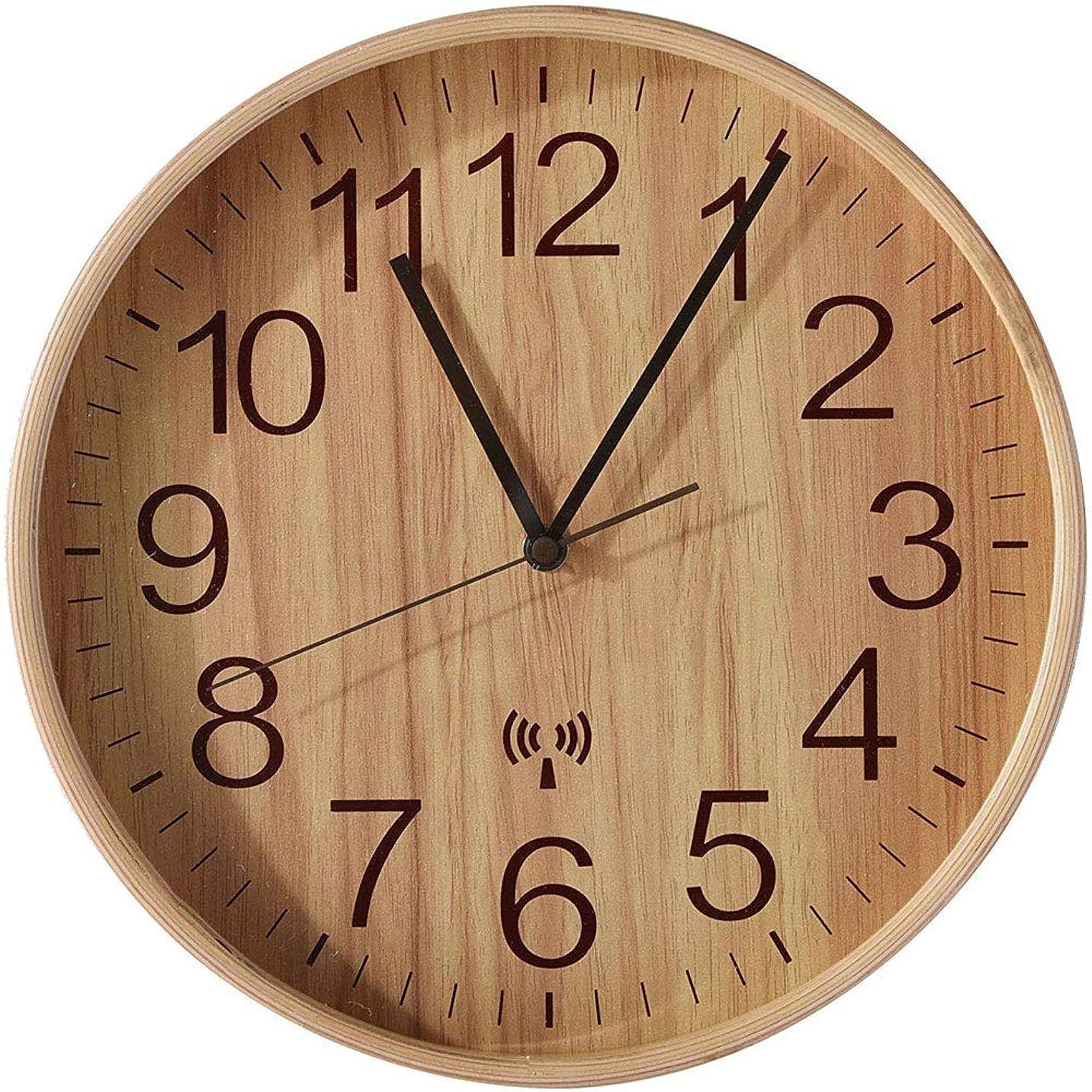 ビザブランク静けさワイエムワールド 置き時計?掛け時計 電波掛時計 直径28cm ナチュラル 19-126