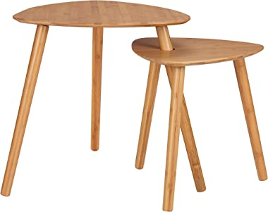 Finnhomy Bamboo Nesting Coffee End Tables Modern Side Table for Home and Office (Natural, Set of 2)