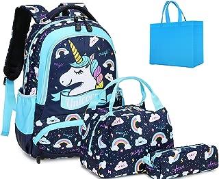 Girls School Backpacks with Lunch Box Unicorn Backpack School bag 3 in 1 Bookbag Set for Elementary (One_Size, Sky Blue)