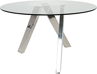 UrbanMod Ultra Modern Clara Round Glass Dining Table Criscross Chrome Legs