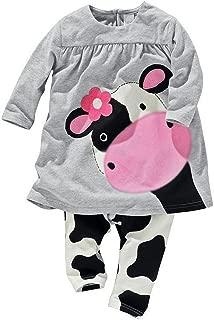 Baby World Little Girls' 2pcs Milk Cow Suit Long Tops Pants Outfits