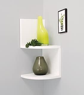 white hanging corner shelves