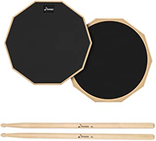 Donner 8 Inches Drum Pad with a Great Rebounding, 2-Sided Silent Drum Practice Pad with Premium Drum Sticks for Beginners & Drummers, Black