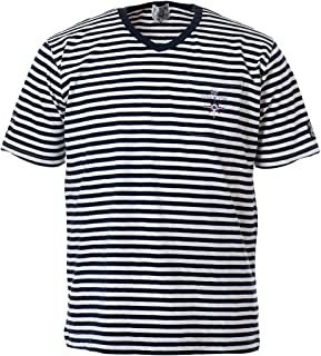 T-Shirts Shortsleeve Striped Vneck Cotton Men Marine Golf 19120550