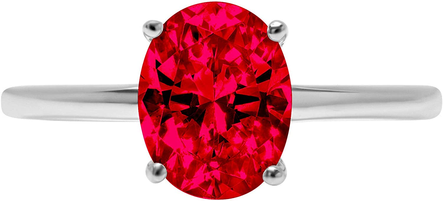 1.95 ct Brilliant Oval Shape Solitaire Flawless Pink Tourmaline Ideal VVS1 4-Prong Engagement Wedding Bridal Promise Anniversary Designer Ring Solid 18k White Gold for Women