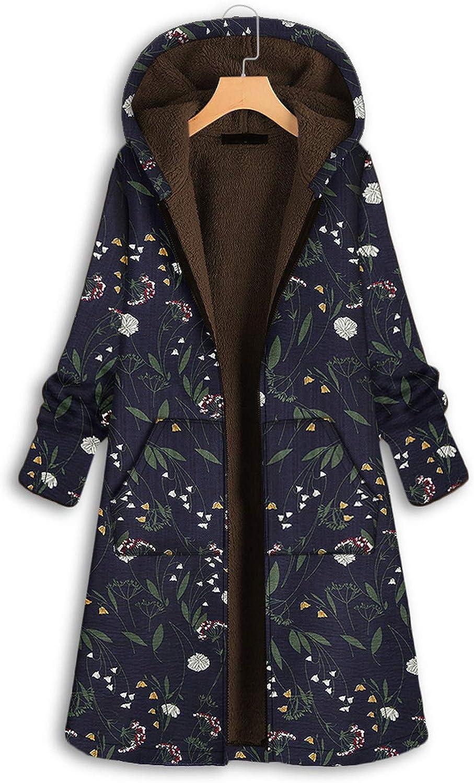 Okseas Damen Winter Jacke Mantel Damen Warm Dicker Outwear Parka Mantel Jacke Blumendruck mit Kapuze Taschen Vintage Oversize Coats Marine