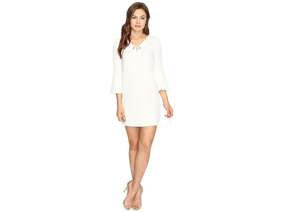 kensie Textured Dot Dress KSDK7797 (Bone) Women