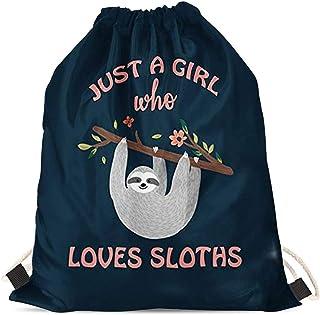 INSTANTARTS School String Backpack Kid Gym Sackpack Drawstring Bag Cinch Sack Gymsack (Just a Girl Who Loves Sloth)