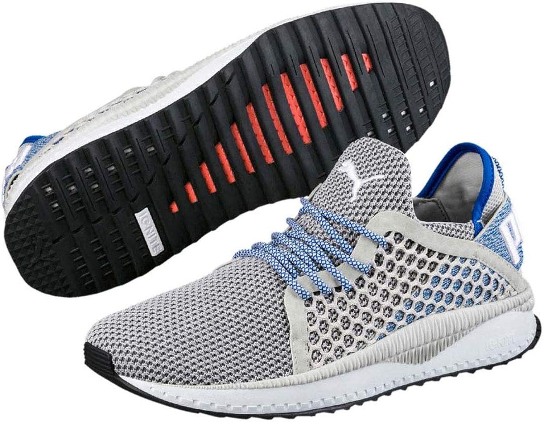 Puma Tsugi Netfit Mens Trainers Grey White bluee Adults Sports Gym shoes (10.5 UK)