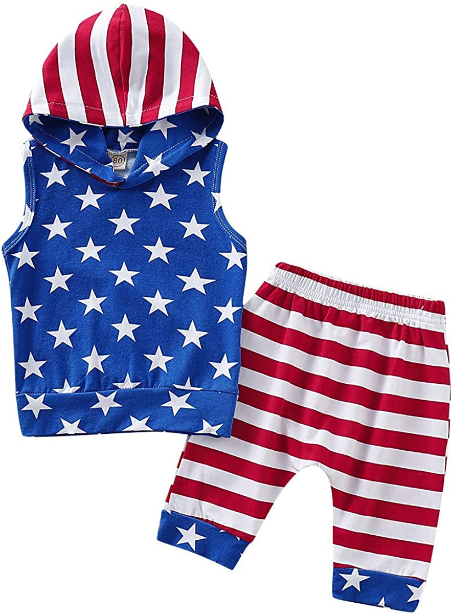 Toddler Kids Baby Boy 4th of July Shorts Outfits Sleeveless Stars Top+ Stripe Shorts Summer Clothes Set