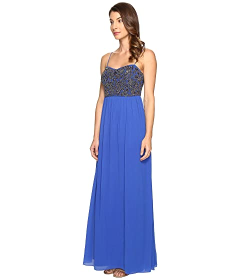 Gown w Papell Bodice Strap Adrianna Beaded Spag tf18B