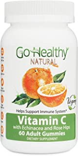 Go Healthy Natural Vitamin C Gummies with Echinacea and Rose Hips, Vegan- Adult, 240 mg Per Serving (60 Count)-30 Servings...