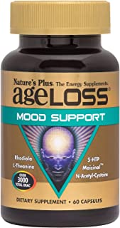 NaturesPlus AgeLoss Mood Support - 60 Vegetarian Capsules - Anti-Aging Stress Reliever & Mood Booster, Antioxidant, Anti-I...