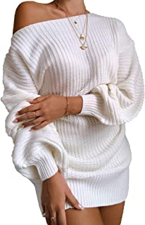 LAVANACE Women's Casual Oversized Off Shoulder Sweater Dresses Long Chunky Pullover Jumper