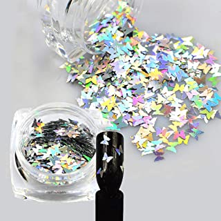 1Pcs Laser Shiny Diamond Round Ultrathin Sequins Nail Art Glitter Tips UV Gel 3D Butterfly sequins laser magic silver Butterfly sequins Nail Decoration Manicure DIY Accessories (Silver)
