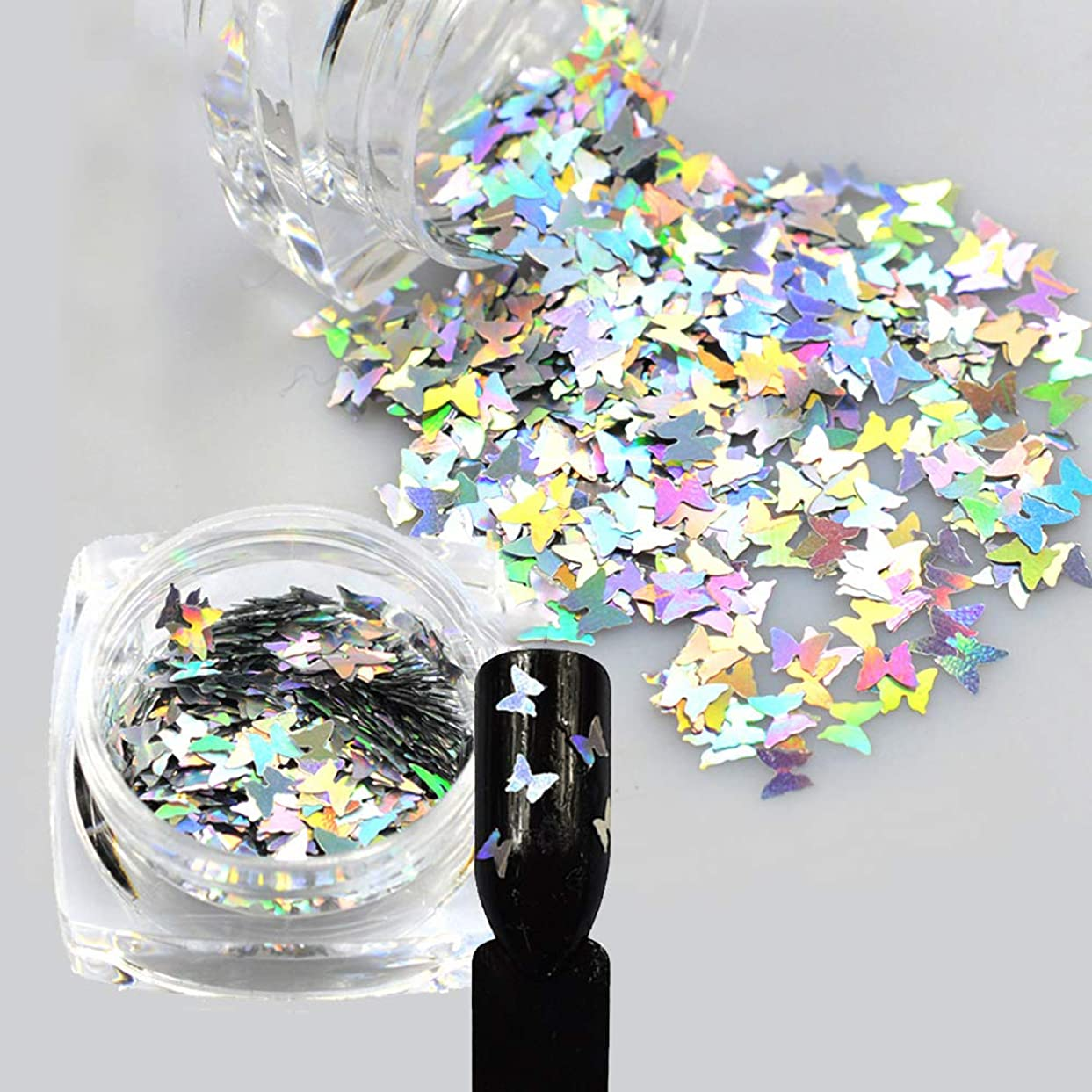 シェルター首相エジプト1ピースレーザー光沢のあるダイヤモンドラウンド超薄型スパンコールネイルアートキラキラのヒントUVジェル3DバタフライスパンコールレーザーマジックシルバーバタフライスパンコールネイルデコレーションマニキュアDIYアクセサリー