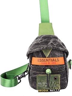 Unisex Crossbody Bag, Denim Chest Bag, Contrast Mini Shoulder Bag