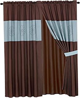 WPM/AHF Luxury Embroidered Curtain Set. 4 Piece Drapes with Backing & Tie Backs (Aqua Blue&Brown)