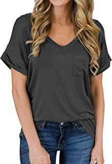 Women's Short Sleeve V-Neck Shirts Loose Casual Tee T-Shirt Tops S-XXL