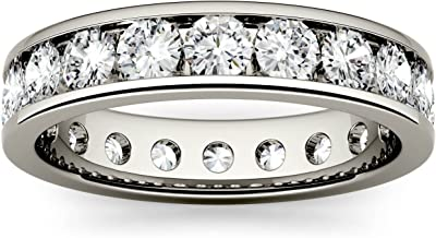 Forever One Round 3.0mm Moissanite 14K White Gold Eternity Band (D-E-F) by Charles & Colvard