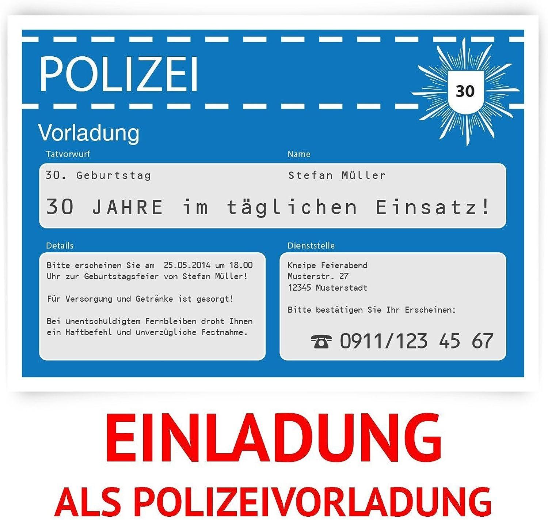 Einladungskarten zum Geburtstag (100 Stück) als Polizeivorladung Polizei Vorladung Karte B00I75RC6U | Die Farbe ist sehr auffällig