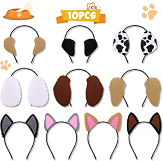 Puppy Dogs Ear Headbands for Pet Birthday Party Favors Kids Toddlers Adults Photo Booth Props Costumes Dress-up Party Supplies Set of 10