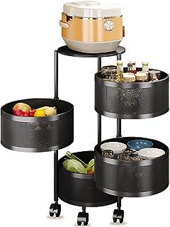MI ER Support de Rangement Rotatif de Cuisine de Forme Ronde, Chariot de Chariot sur Pied en métal, étagère d'organisation...