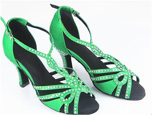 LEIT YFF Cadeaux Femmes Dance Danse Danse Latine Dance Tango Chaussures 8.5cm,vert,35