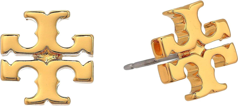 Tory Save money Burch Women's Gold Stud Earrings Logo Translated