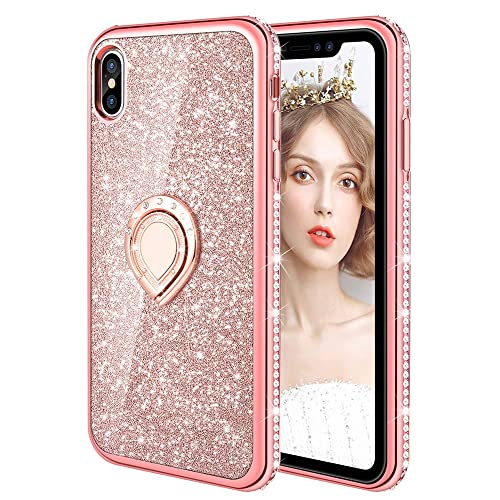 wlooo Phone Case for iPhone XS Max, Glitter Silicone Case Bling Kickstand Rotating Ring Holder Diamond Rhinestone TPU Bumper Ultra Thin Cute Girls Women Case Cover for iPhone XS Max