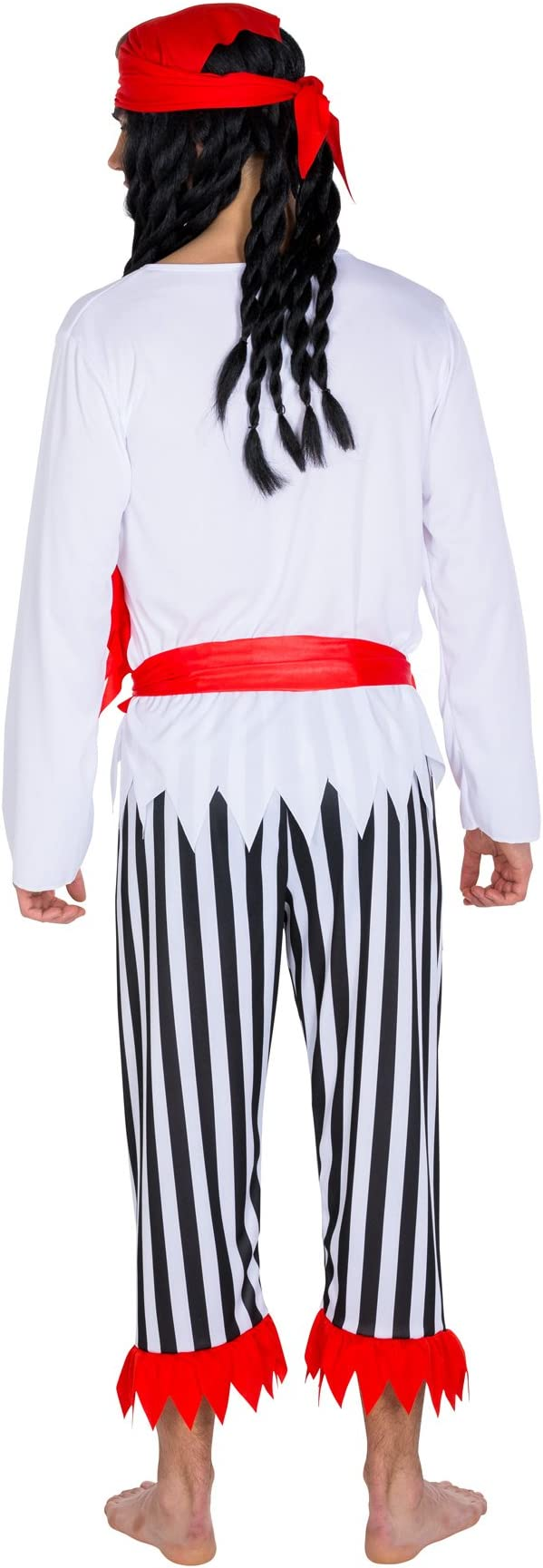 TecTake dressforfun Disfraz de Capitán Pirata bucanero para Hombre | pañuelo Triangular con cinturón Rojo para anudar a la Cintura (L | no. 300703)