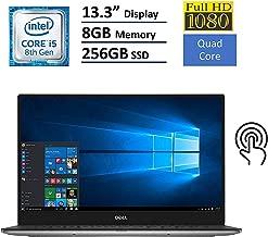 "Dell XPS 9360 Flagship 13.3"" FHD Touch-Screen Laptop, Intel Quad-Core i5-8250U up to 3.4GHz, 8GB RAM, 256GB PCIe SSD, Thunderbolt, Backlit Keyboard, Waves MaxxAudio Pro, WiFi, Bluetooth, Windows 10"