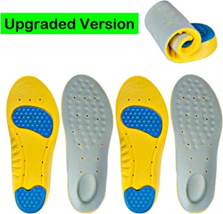 Professional Sports Insoles (2 Pairs) Relieve Plantar Fasciitis Heel Spurs & Foot Pain Shock Absorption Breathable Shoe Inserts Memory Foam Insoles for Men & Women (L: Men's 8.5-11.5 / Women's 9-12)