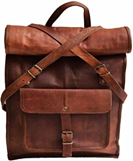 "23"" Large Genuine Leather Backpack for Laptop Travel roll top Rucksack for Men Women"