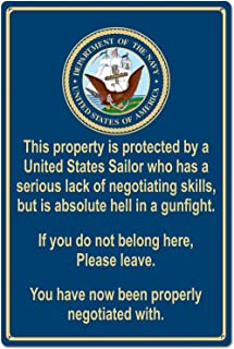 Property Protected by Sailor U.S. Navy Funny Tin Sign Metal Sign Metal Decor Wall Sign Wall Poster Wall Decor Door Plaque TIN Sign 7.8X11.8 INCH