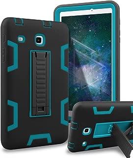 Samsung Galaxy Tab E 8.0 Case,XIQI Three Layer Kickstand Hybrid Rugged Heavy Duty Shockproof Anti-Slip Case Full Body Protection Cover for Tab E 8.0 inch,Black Blue