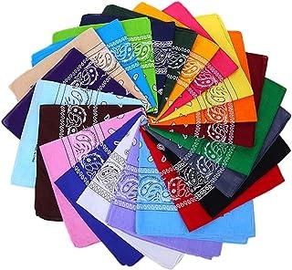 TOYANDONA 16pcs Unisex Square Handkerchiefs Headbands Paisley Print Summer Beach Bandana (Mixed Color)