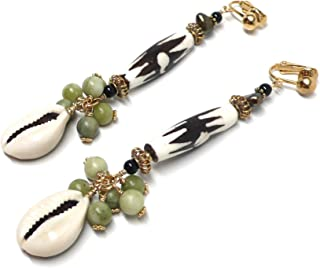 African Mud-Cloth Cowrie Shell Cluster Drop Long Dangle Earrings Serpentine Brass Clip-On