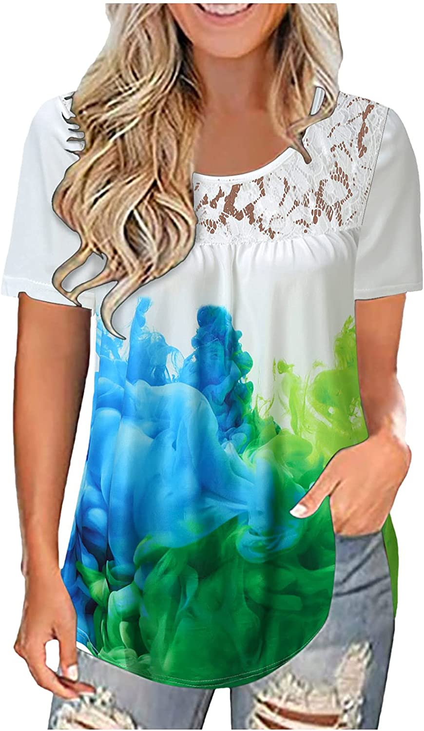 Short Sleeve Shirts for Women Round Neck Loose Pullover Comfy Soft Blouses Summer Casual Print Tops Tunics