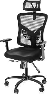 NOBLEWELL Fauteuil de bureau, chaise de bureau ergonomique en maille avec support lombaire, appui-tête réglable, chaise d'...
