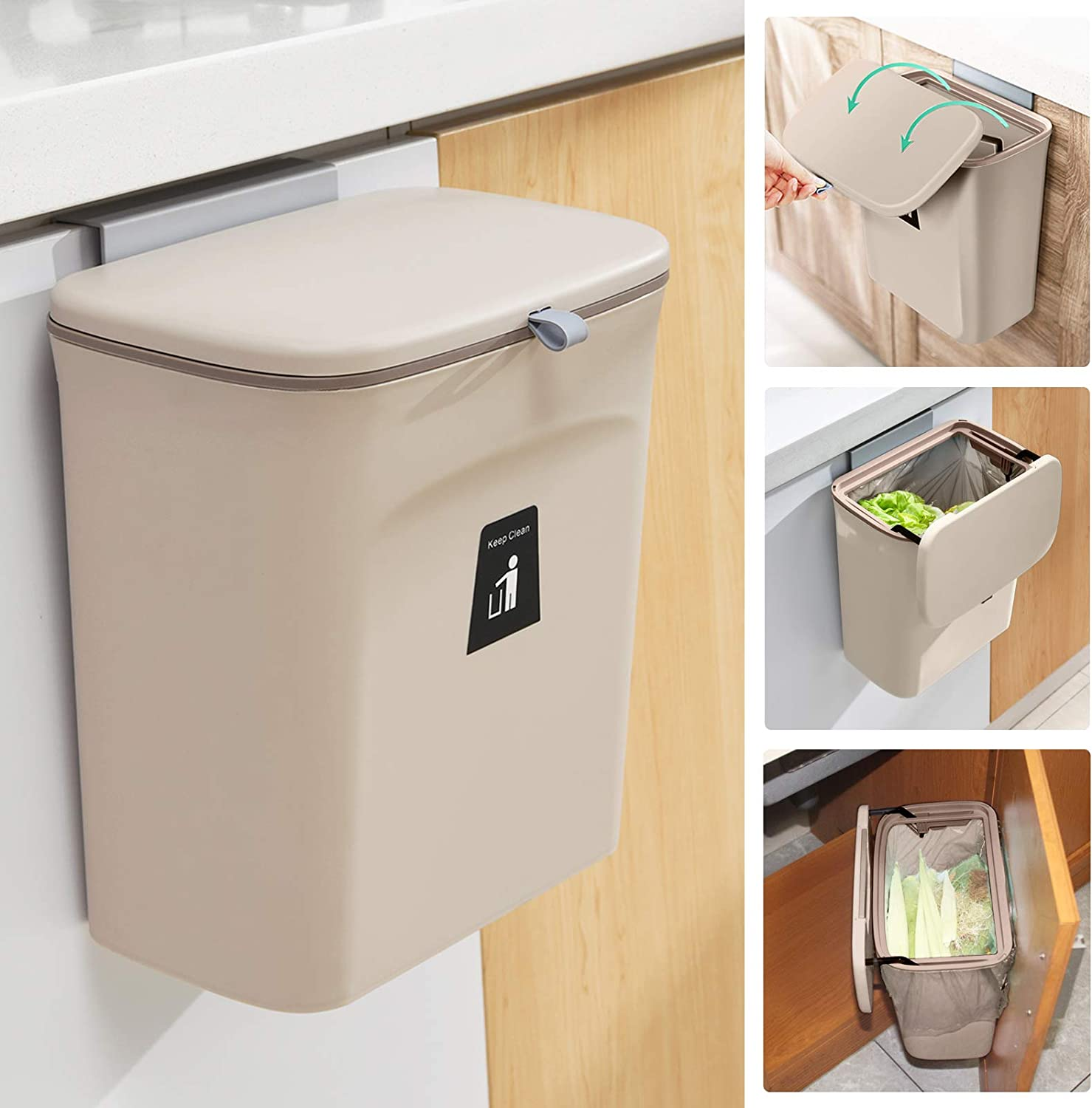 Amazon Com 2 4 Gallon Kitchen Compost Bin For Counter Top Or Under Sink Hanging Small Trash Can With Lid For Cupboard Bathroom Bedroom Office Camping Mountable Indoor Compost Bucket Coffee Garden Outdoor