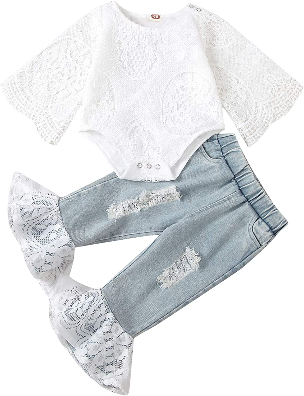Baby Girl Outfit Set Infant Toddler Sleeve Popular products White Ranking TOP20 Hollow Ruffles
