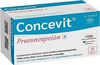 Concevit Preconcepción con Hierro. Folato activo y vitaminas y minerales. 40 Cápsulas blandas