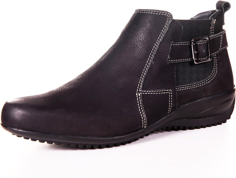 Women's Genuine Nubuck Samia Leather Chelsia Flat Boots by ENAAF