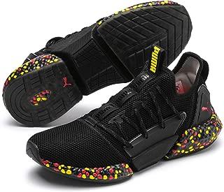 PUMA Men's Hybrid Rocket Runner Sneaker, Black-Blazing Yellow-high Risk Red